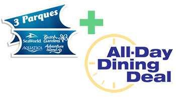 Ingresso SeaWorld 3 Dias com Refeições - 3 Parks Ticket All-Day Dining Deal